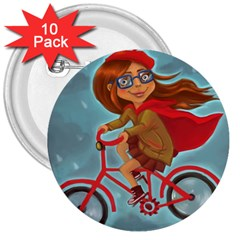 Girl On A Bike 3  Buttons (10 Pack)