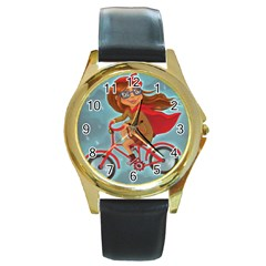 Girl On A Bike Round Gold Metal Watch