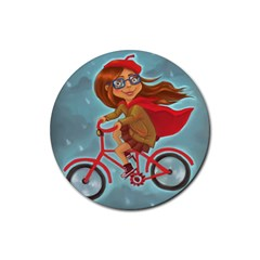 Girl On A Bike Rubber Round Coaster (4 Pack)