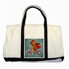 Girl On A Bike Two Tone Tote Bag