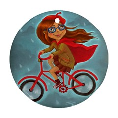 Girl On A Bike Round Ornament (two Sides)