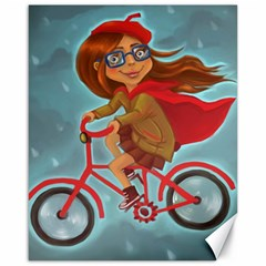 Girl On A Bike Canvas 16  X 20
