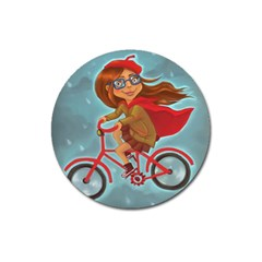 Girl On A Bike Magnet 3  (round)