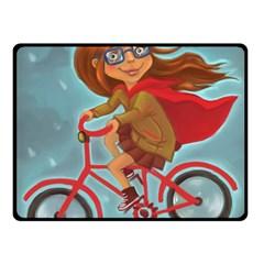 Girl On A Bike Fleece Blanket (small)