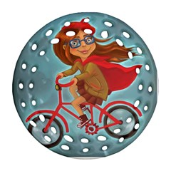 Girl On A Bike Round Filigree Ornament (two Sides)