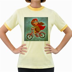 Girl On A Bike Women s Fitted Ringer T Shirts