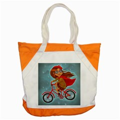 Girl On A Bike Accent Tote Bag