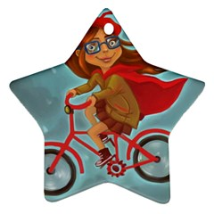 Girl On A Bike Star Ornament (two Sides)