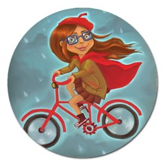 Girl On A Bike Magnet 5  (round)