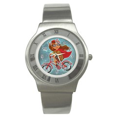 Girl On A Bike Stainless Steel Watch