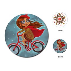 Girl On A Bike Playing Cards (round)