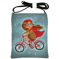 Girl On A Bike Shoulder Sling Bags