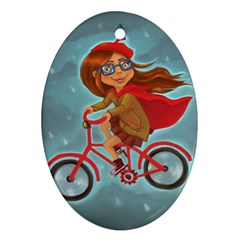Girl On A Bike Oval Ornament (two Sides)