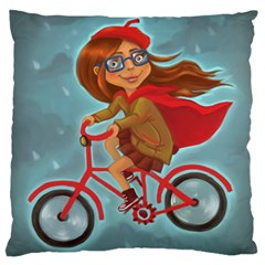 Girl On A Bike Large Flano Cushion Case (two Sides)