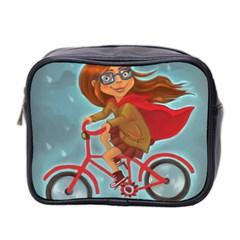 Girl On A Bike Mini Toiletries Bag 2 Side