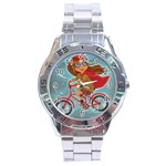 Girl on a bike Stainless Steel Analogue Watch Front