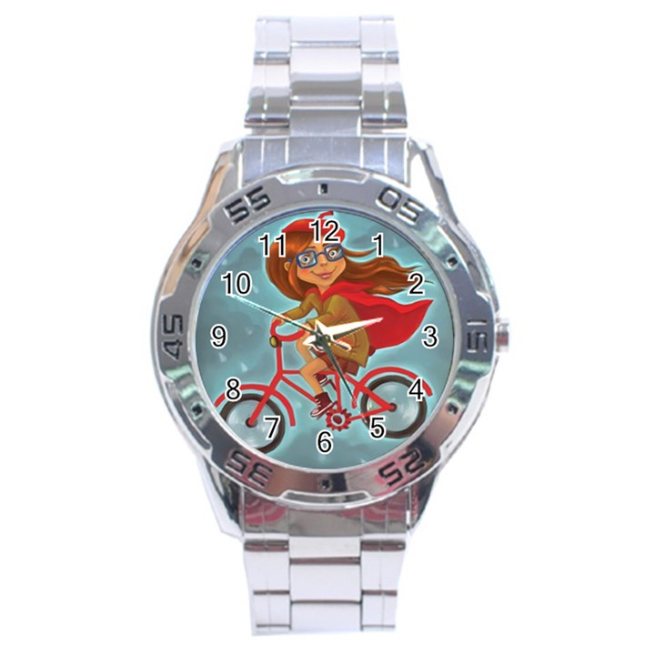 Girl on a bike Stainless Steel Analogue Watch