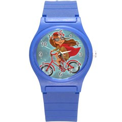 Girl On A Bike Round Plastic Sport Watch (s)