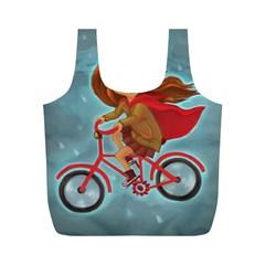 Girl On A Bike Full Print Recycle Bags (m)