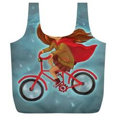 Girl On A Bike Full Print Recycle Bags (l)