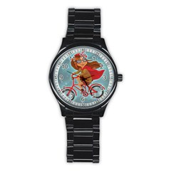Girl On A Bike Stainless Steel Round Watch