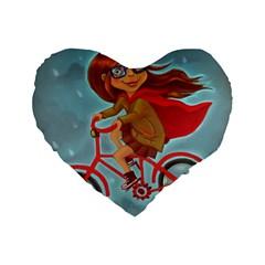 Girl On A Bike Standard 16  Premium Flano Heart Shape Cushions