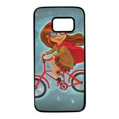 Girl On A Bike Samsung Galaxy S7 Black Seamless Case