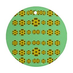 Sun Flowers For The Soul At Peace Round Ornament (two Sides)