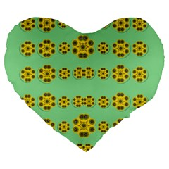 Sun Flowers For The Soul At Peace Large 19  Premium Heart Shape Cushions