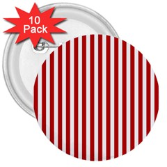Red Stripes 3  Buttons (10 Pack)