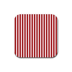 Red Stripes Rubber Square Coaster (4 Pack)