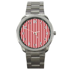 Red Stripes Sport Metal Watch