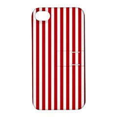 Red Stripes Apple Iphone 4/4s Hardshell Case With Stand