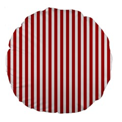Red Stripes Large 18  Premium Flano Round Cushions