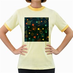 Blue Background Backdrop Geometric Women s Fitted Ringer T Shirts