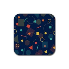 Blue Background Backdrop Geometric Rubber Square Coaster (4 Pack)
