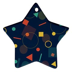 Blue Background Backdrop Geometric Star Ornament (two Sides)