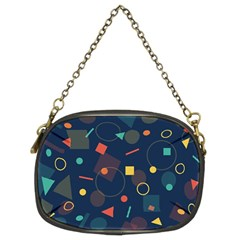 Blue Background Backdrop Geometric Chain Purses (two Sides)