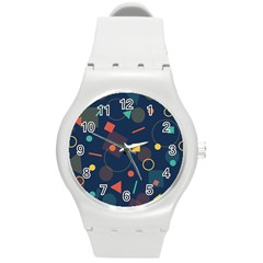 Blue Background Backdrop Geometric Round Plastic Sport Watch (m)
