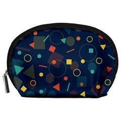 Blue Background Backdrop Geometric Accessory Pouches (large)