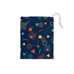 Blue Background Backdrop Geometric Drawstring Pouches (small)