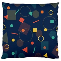Blue Background Backdrop Geometric Large Flano Cushion Case (two Sides)