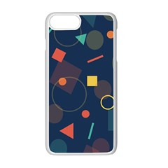 Blue Background Backdrop Geometric Apple Iphone 7 Plus Seamless Case (white)