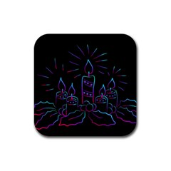 Advent Wreath Candles Advent Rubber Square Coaster (4 Pack)