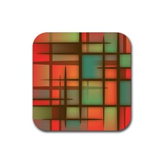 Background Abstract Colorful Rubber Square Coaster (4 Pack)