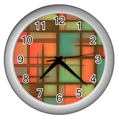 Background Abstract Colorful Wall Clocks (silver)