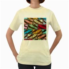 Colorful Painted Bricks Street Art Kits Art Women s Yellow T Shirt