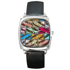 Colorful Painted Bricks Street Art Kits Art Square Metal Watch