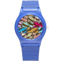 Colorful Painted Bricks Street Art Kits Art Round Plastic Sport Watch (s)