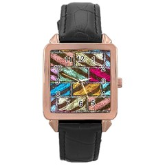 Colorful Painted Bricks Street Art Kits Art Rose Gold Leather Watch
